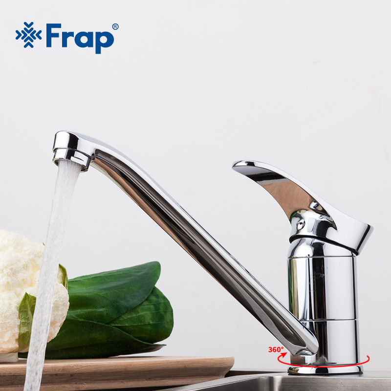 Frap Chrome Finished Kitchen Sink Faucet Cold And Hot Water Mixer Tap Single Handle Crane Torneira Cozinha 360 Degree Rotation