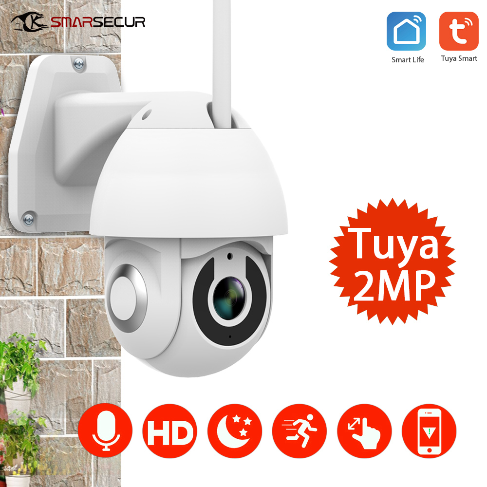 Tuya 1080P PTZ IP Camera Wifi Outdoor Speed Dome Wireless Wifi Security Camera Pan Tilt 4X Digital Zoom Network CCTV Security