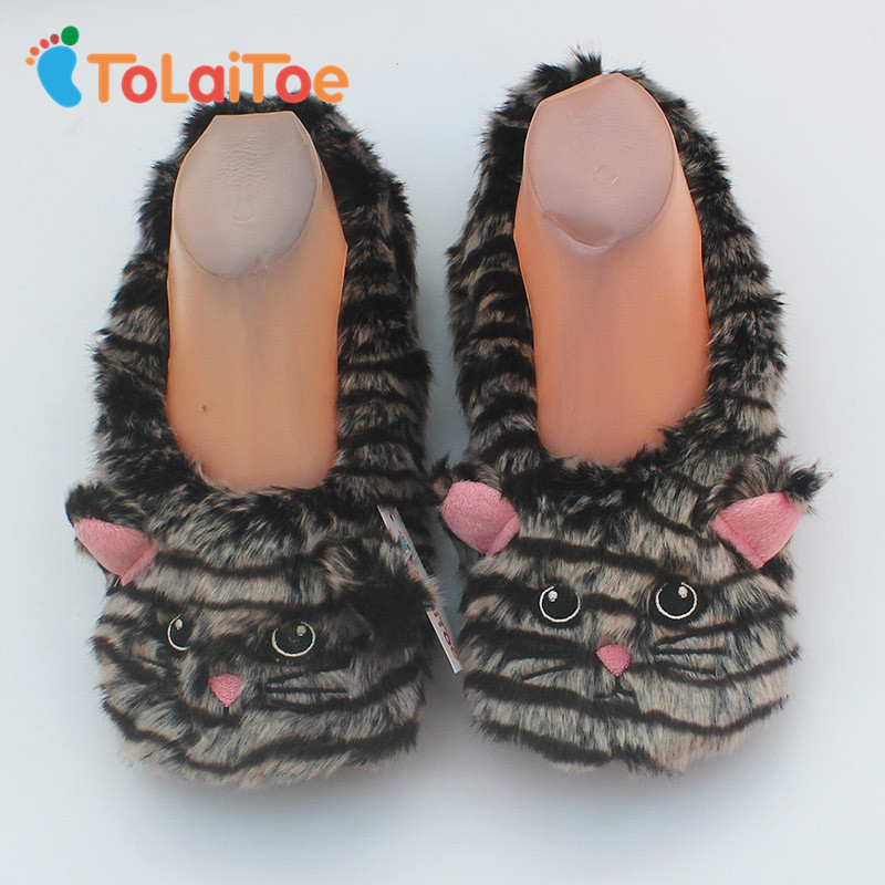 ToLaiToe 2017 Hot Selling 2017 hot sell cute cat warm soft bottom woman indoor floor slippers/shoes tie up flannel slippers tolaitoe autumn
