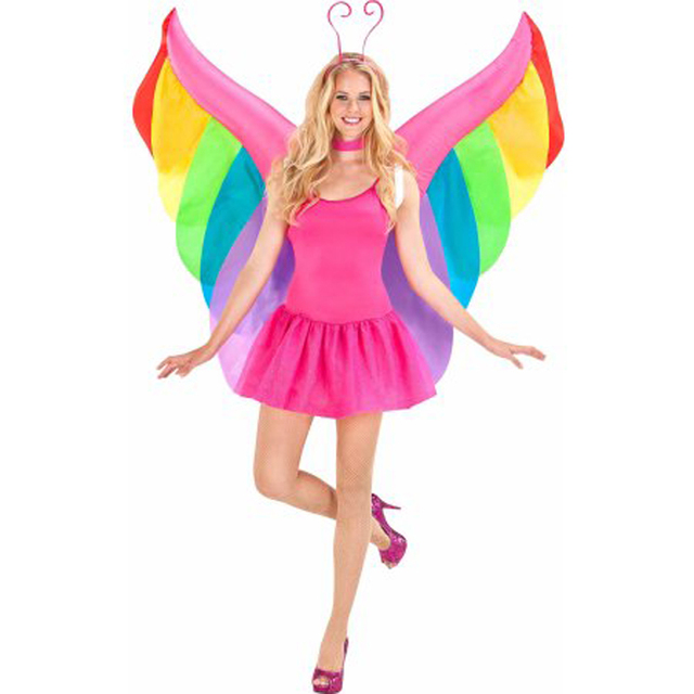 Womens Inflatable Fairy Butterfly Rainbow Wings Costume Halloween Party Cosplay Nativity Dark Angel Wings Cosplay Costume Prop
