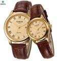 2016 Señoras de la Marca Famosa Reloj de Cuarzo Hombres Mujeres Pareja Reloj de pulsera leathe Hombre Reloj Impermeable de Moda Casual Relojes de Los Amantes