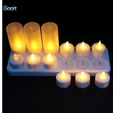 12 LED Night Rechargeable Flameless Tea Light Candle For Xmas Party Electronic Candle Lamps