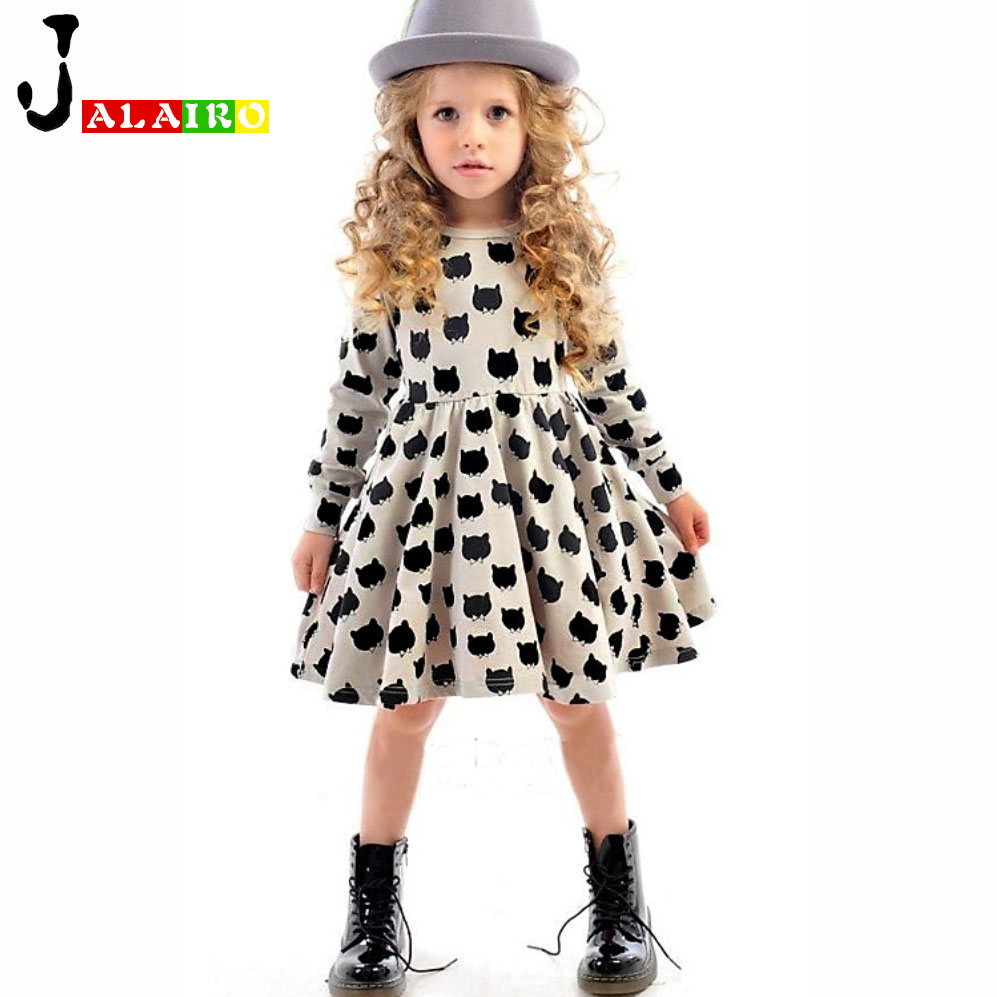 Baby Girl Dress Children Black Cat Long Sleeve Clothes Kids Casual Cotton Dot Clothing Spring