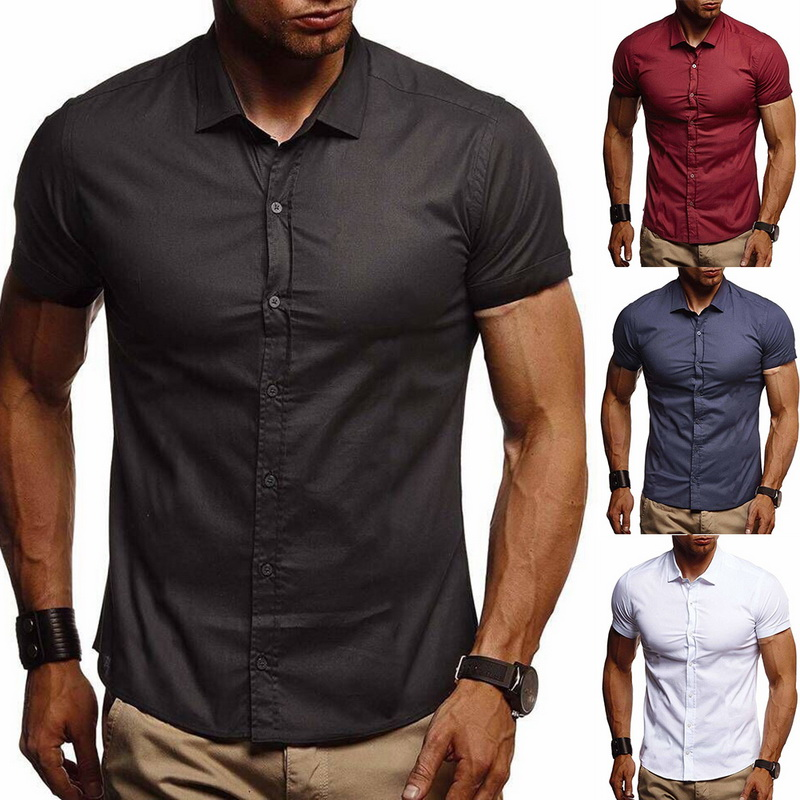 MJARTORIA Summer Casual Shirts 2019 Button Down Collar Slim Fit Short Sleeve Solid Color Stretch Casual Business Office Shirt