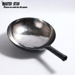Master Sterne Große Chinesische Traditionelle Handgemachte Wok altmodischen Eisen Woks Uncoating Nicht-stick Gas Topf Kochgeschirr 32 /34cm
