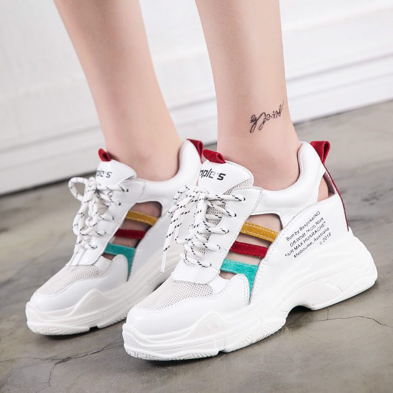 Jookrrix 2018 New Increase Shoes Women Brand Platform Sneakers Lady Fashion footware Summer Hollow Female chaussure Breathable women creepers shoes 2015 summer breathable white gauze hollow platform shoes women fashion sandals x525 50