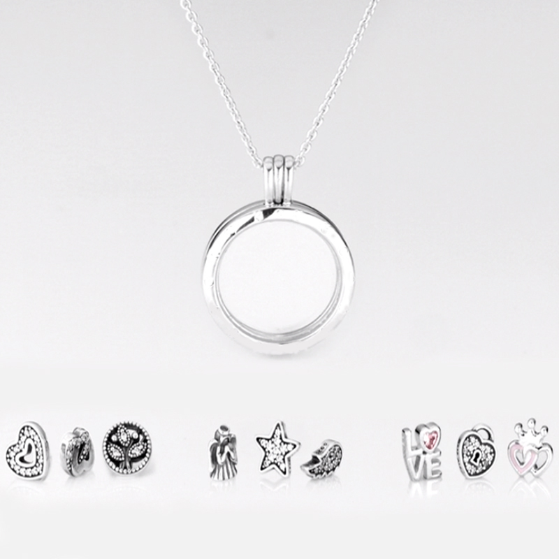 Large Size Round Glass Floating Locket Necklaces Pendants for Women DIY Silver 925 Jewelry 3 Small