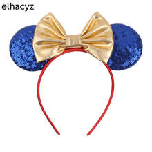 1PC New Minnie Mouse Ears Headbands 5''Metallic Bow Hairband For Girls Kids Party Headband Hair Accessories 1pc new valentine minnie mouse ears headbands 5 sequin bow hairband for girls kids party headband hair accessories