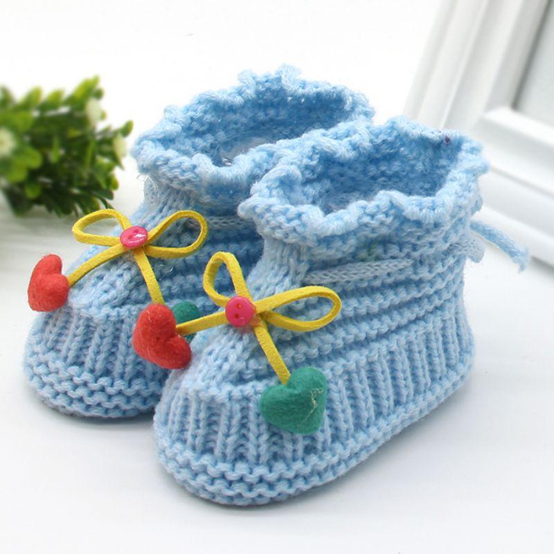 Woolen Baby Shoes Infants Crochet Knit Fleece Warm Boots Toddler Girl Boy Wool Snow Crib Shoes Winter Booties M2