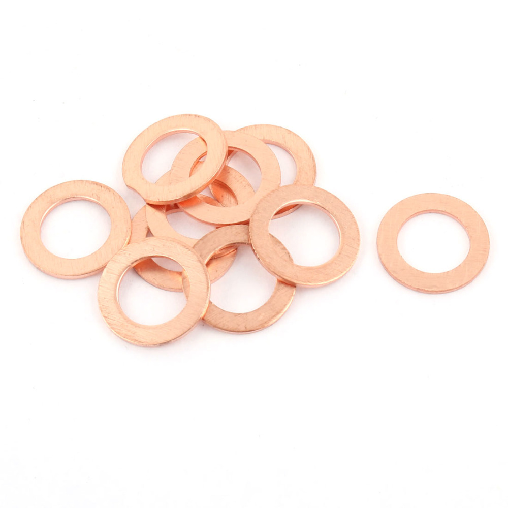 Uxcell 10pcs/Lot 1mm Thickness O-Ring Round Shape Hose Gasket Flat Copper Washer For Faucet Grommet Copper Tone