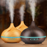 Aroma Essential Oil 300ml Diffuser Ultrasonic Air Humidifier With Wood Grain 7 Color Changing LED Lights