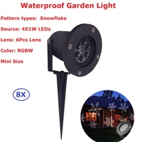 8Pack Christmas Lights Outdoor Snowflake Projector Light Professional Lawn Lamps Light Waterproof Snow Lasers Halloween Lights