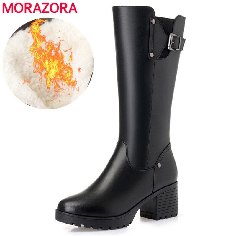 MORAZORA 2020 femmes chaussures d'hiver en cuir véritable femmes bottes de neige en laine naturelle chaude de haute qualité genou bottes hautes femme-in Bottes de neige from Chaussures    1