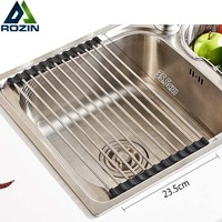 Free Shipping 1pc Kitchen Sink Rack Stainless Steel Foldable Dish Cutlery Drainer Drying Holder Fruits Cup