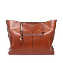 Large capacity leather handbag