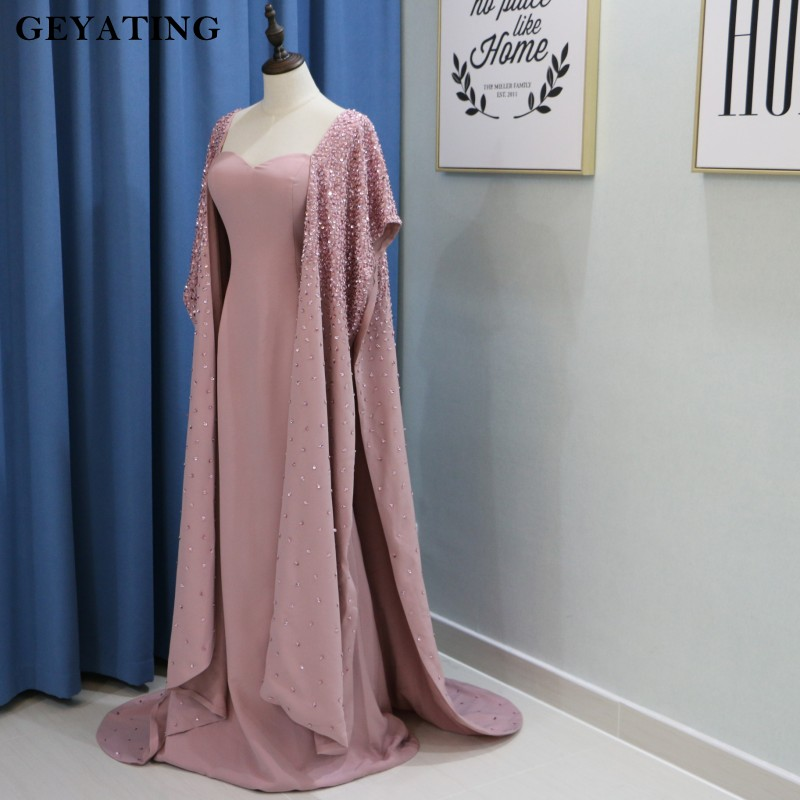 Pink Muslim Deep V-neck Evening Dresses 2019 A-line Flowers Lace Formal Islamic Dubai Kaftan Saudi Arabic Long Evening Gown Attractive Appearance Evening Dresses