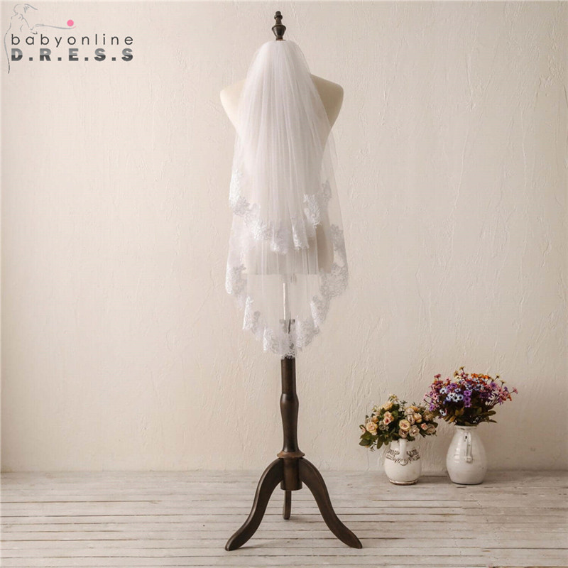 Wedding-Veil Lace-Edge Fingertip Voile Comb Short Tulle Mariage Soft Two-Layers