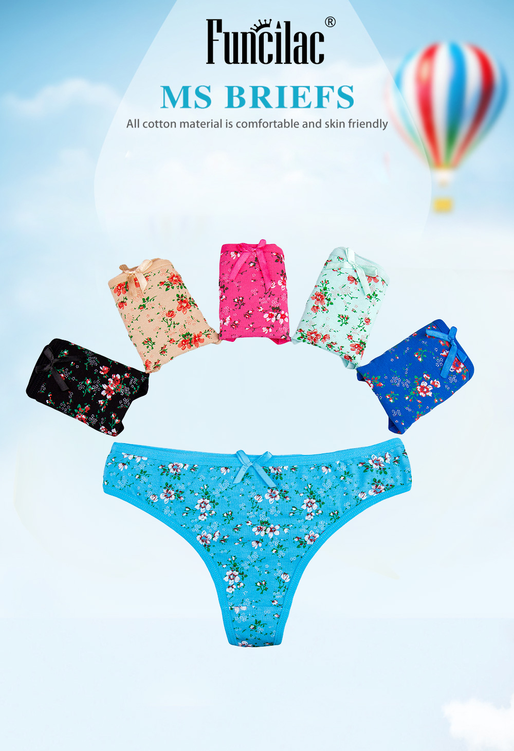 Women Low Waist Hipster Hot Air Balloon Panties Cotton Stretch