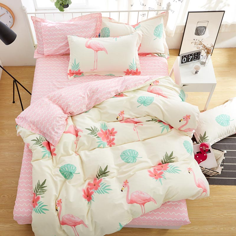 100% Cotton Bed Sheet and Pillowcases and Duvet Cover Set Flamingo 4pcs Bedding Set Queen Size and King Size Bedding Set