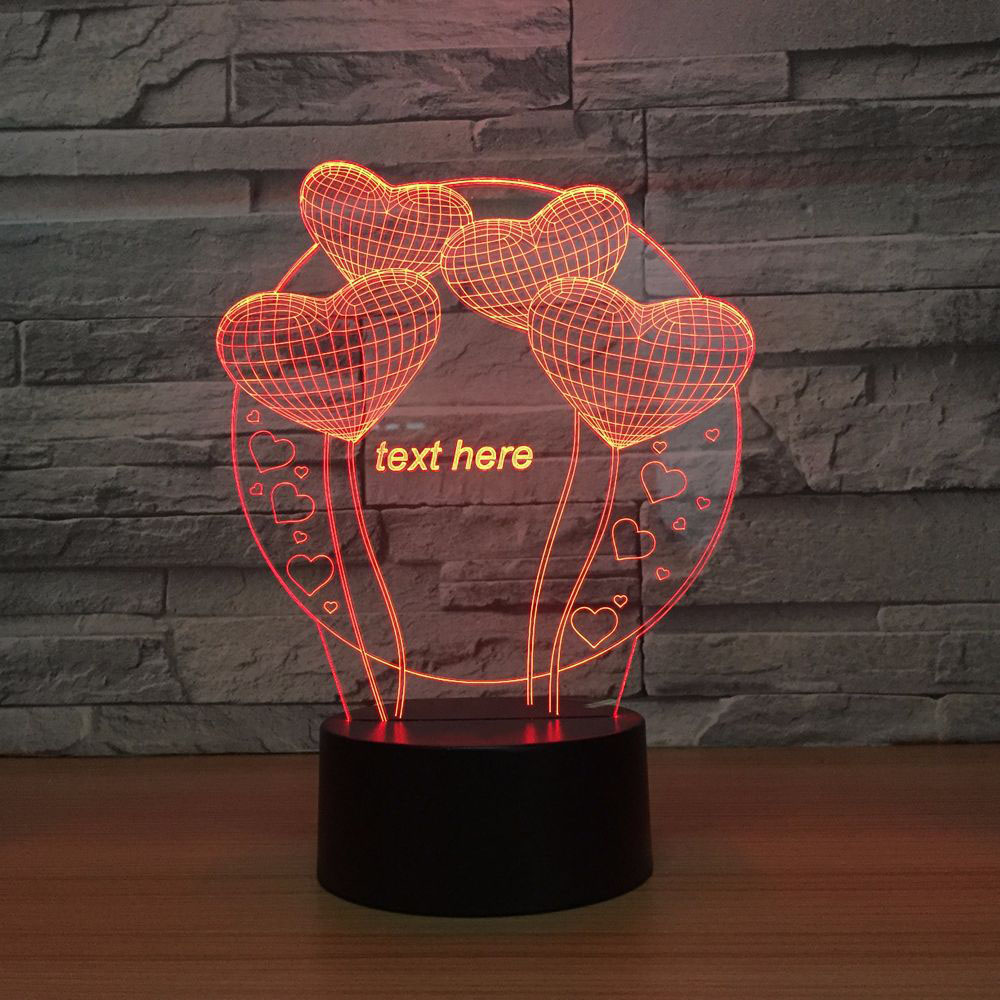 Office Desk 3D LED Visual Romantic Atmosphere Love Heart Balloon Modelling Night Light For ValentineS Day Decor Table Lamp Gift