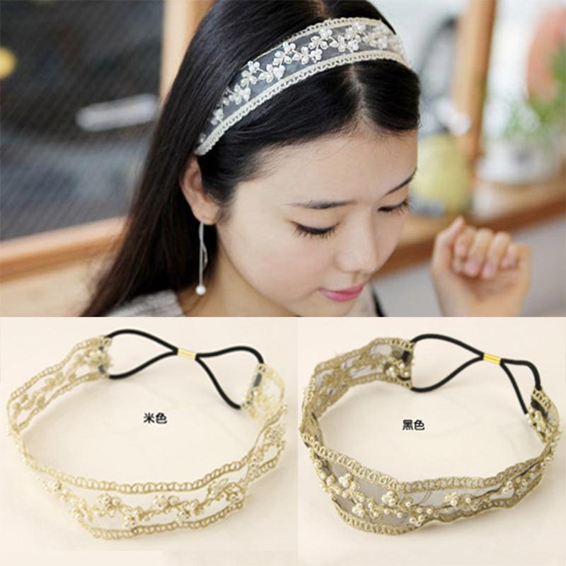 New Simulated Pearl Flower Lace Cloth Linking Black Elastic Hair Bands Fashion Headbands Accessories for Women Headwear