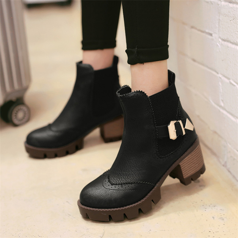 ФОТО plus size 34-43 autumn winter Waterproof women Ankle Boots  warm snow boots breathable Europe star fashion Platform Martin Shoes