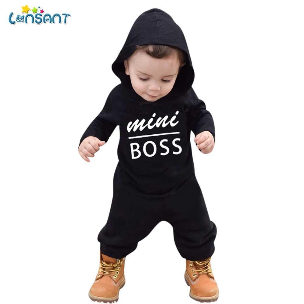 LONSANT/милые комбинезоны для новорожденных, одежда хлопковый комбинезон с капюшоном и длинными рукавами для маленьких мальчиков, с буквенным принтом, для детей от 12 до 24 месяцев