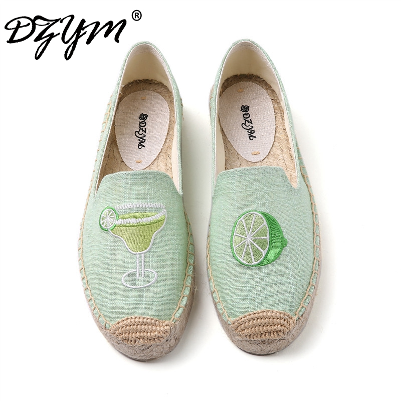 DZYM 2018 Summer Canvas Espadrilles Women Fisherman Shoes Lemon Zapatos Ice Cream Parrot Embroider Linen Loafers Retro Flats