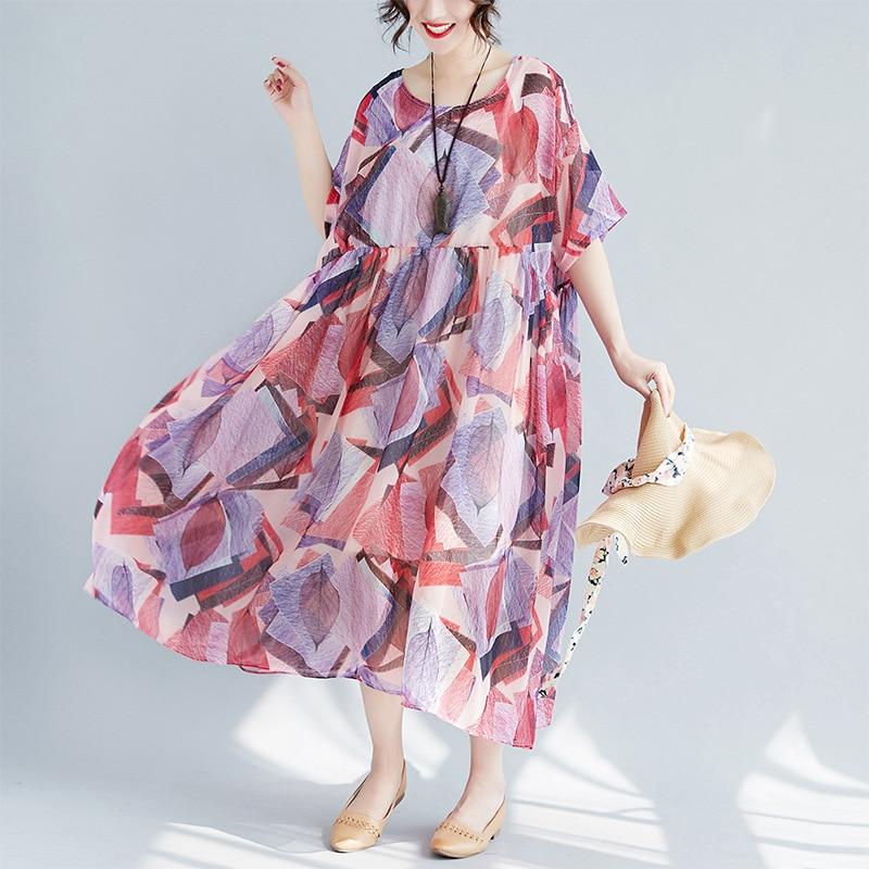 Johnature 2019 Summer Vintage High Waist O Neck Dresses New Women Short Batwing Sleeve Chiffon Loose
