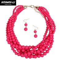 Braided Multi Stand Bead Necklace Round Acrylic Beads Women Statement Fashion Choker Necklace Collier Party Jewelry