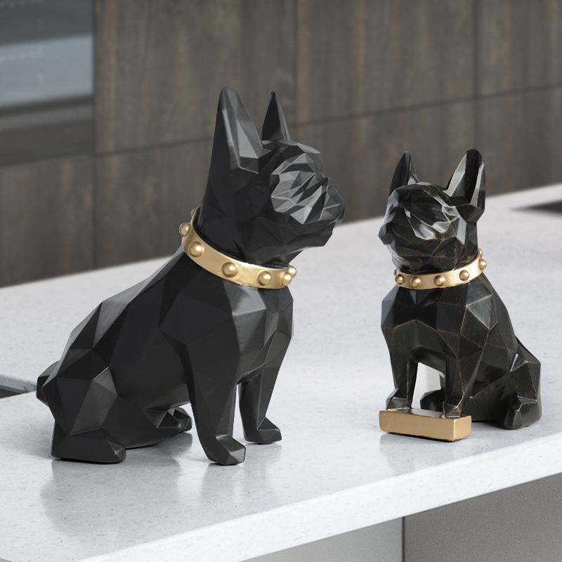 Resin Dog Figurine Art Statue Home Decoration Accessories Modern Garden Decoration Carfts Animal Sculpture For Home Ornaments