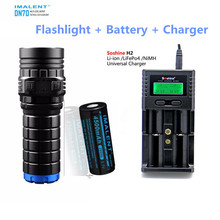 Rechargeable Flashlight IMALENT DN70 max. 3800LM beam throw 325m tactical torch with 26650 battery + Soshine H2 Smart Charger