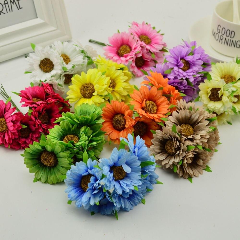 6pcs Handmade Gerbera Fashion Artificial Flowers For Indoor Decoration 3
