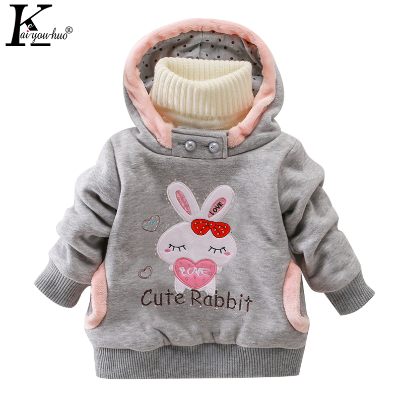 KEAIYOUHUO New Children Clothing Girls Coats Jacket Warm Hooded Long Sleeve Jackets For Girls Clothes Coat