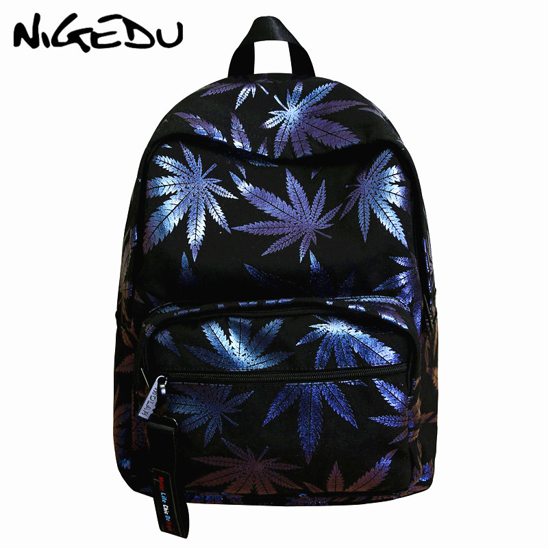 Printing women and men backpack Large capacity Sequins leaves school bags for teenage laptop bagpack female travel bag Daypack in Backpacks from Luggage Bags