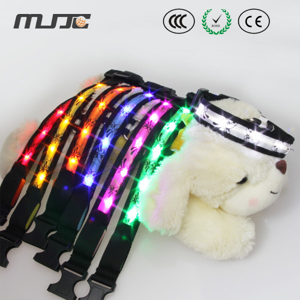 MJJC collar de perro longitud con la tira de luz LED flexible impermeable luz de