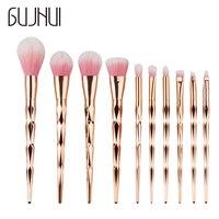 Unicorn Rose GoldMakeup Brushes Set With Colorful Synthetic Hair Mermaid Aluminum Handle Powder Eyeshadow Jessup Brushes