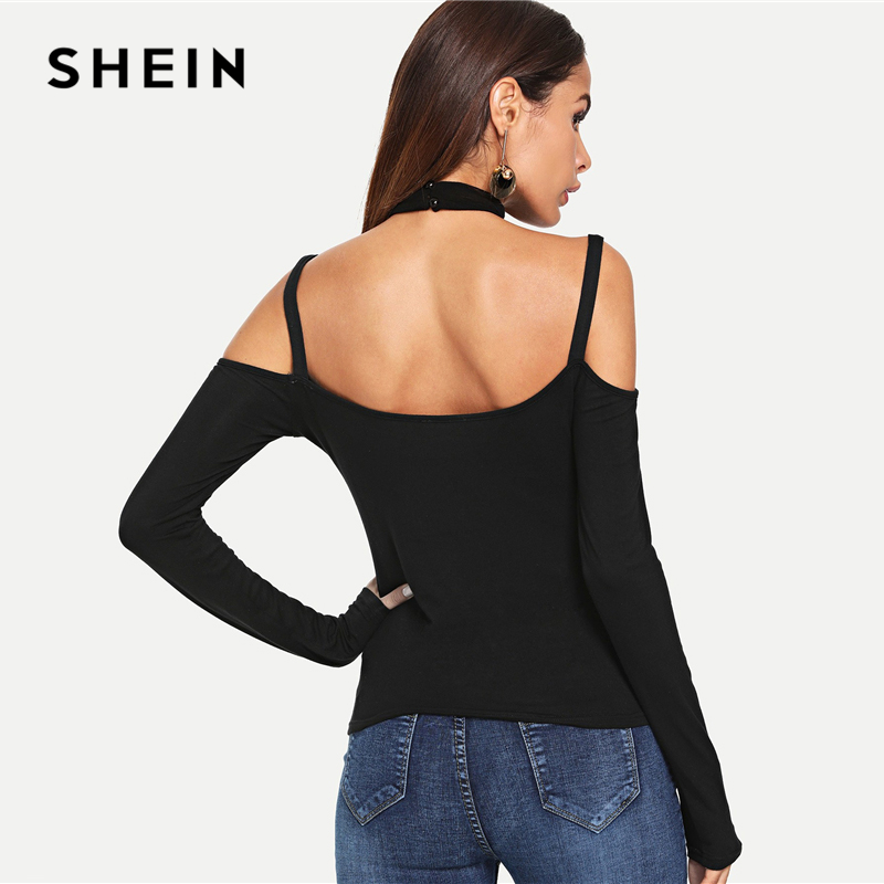 3e9d6a826f SHEIN Black Halter Neck Textured Fitted Tee Sexy Slim Fit Long Sleeve Solid  T shirt Women Autumn Modern Lady Night Out Tops-in T-Shirts from Women s ...