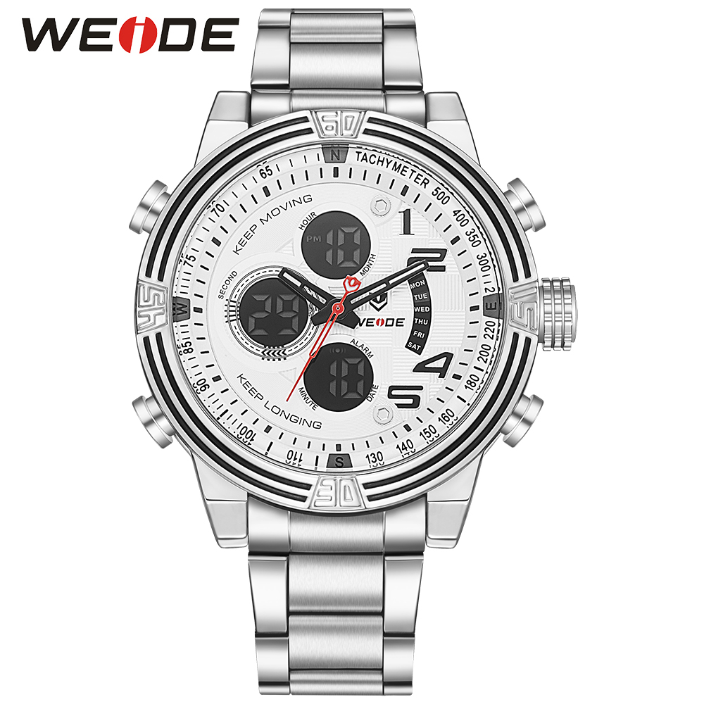 WEIDE White LCD Alarm Stopwatch Back Light Date Watch Men Stainless Steel Band Analog Digital Quartz Military Sport Wristwatch weide 2017 new men quartz casual watch army military sports watch waterproof back light alarm men watches alarm clock berloques