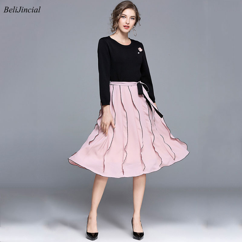 Women Spring Sweet Knitted Floral O Neck Patchwork Ruffles Bow Bandage A Line Midi Dress Lady Office Party Ball Dress Vestidos 10pcs 16pcs professional makeup brushes cosmetic brush set blush eyeshadow brush make up tool