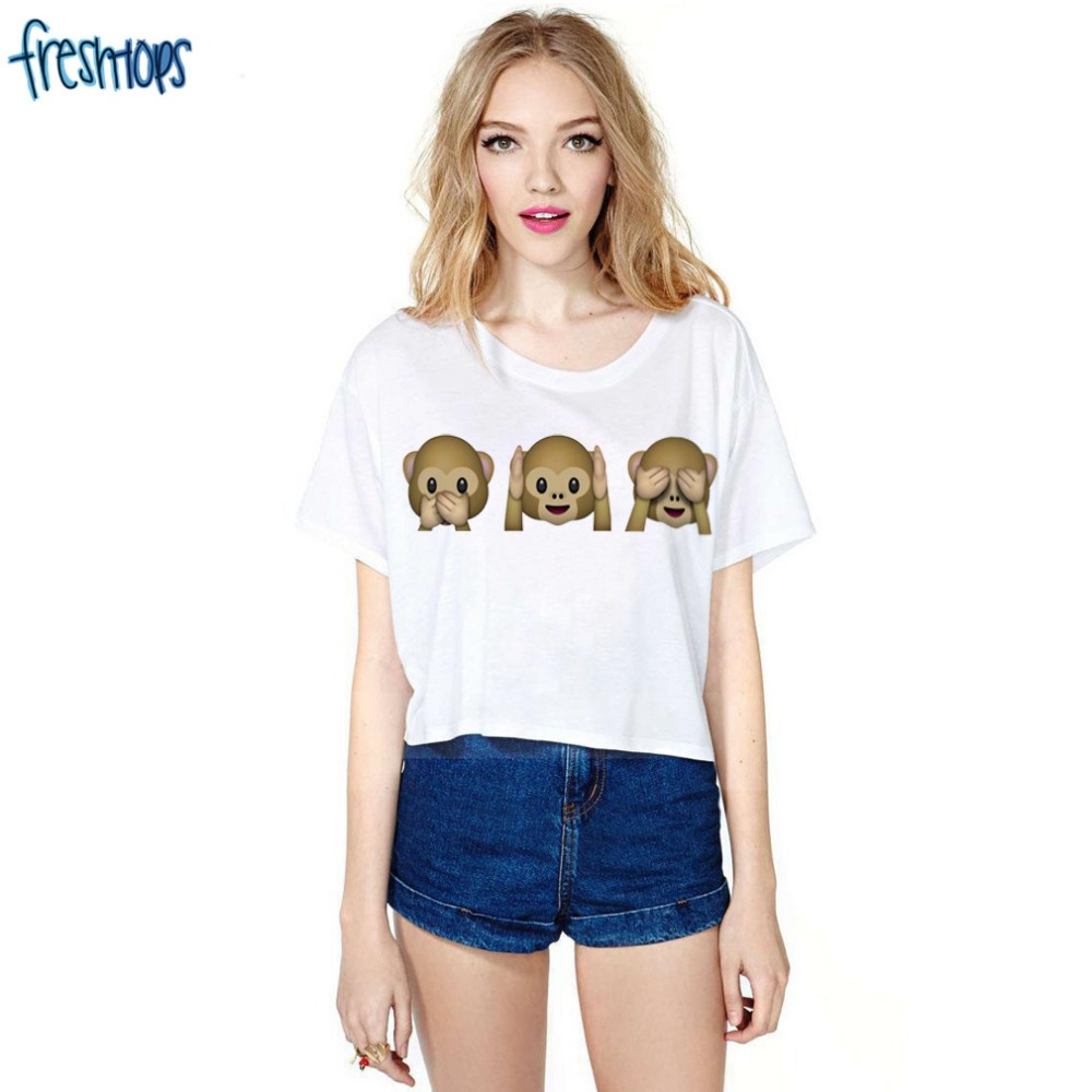 っTímido de La mono patrón impresión crop shirt moda mujer t-shirt ...