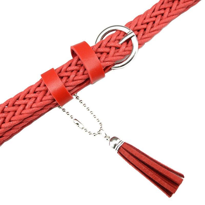 Hot Sale Brand Weaving Tassel Pigskin Leather Thin Female Belt For Women Decoration Dress Coat Cummerbunds Lengt 105cm 4