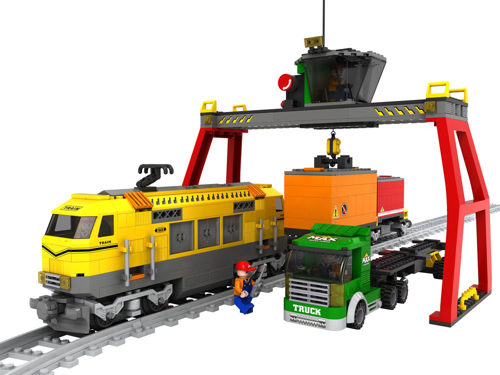 Model building kits compatible with lego city loading and unloading station train blocks Educational model building toys hobbies