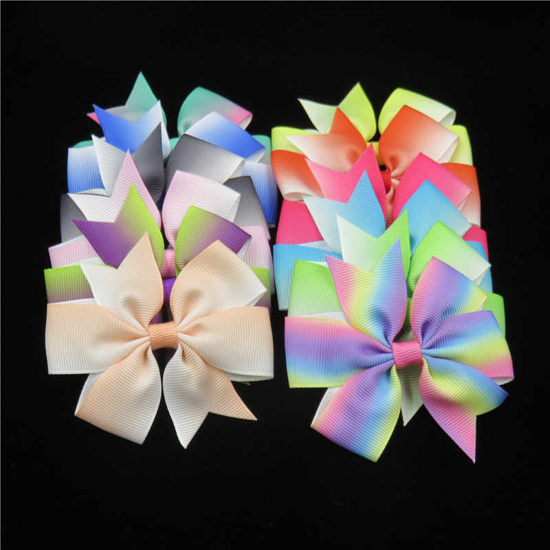 1PCS Gradient Hair Hand Bohemian Bows Christmas Girls 21 colors Scrunchy Grosgrain Ribbon Hair Bow Kids Hair Accessories 2018