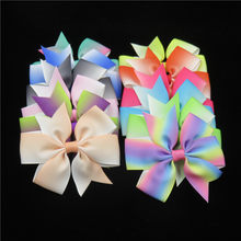 1PCS Gradient Hair Hand Bohemian Bows Christmas Girls 21 colors Scrunchy Grosgrain Ribbon Hair Bow Kids Hair Accessories 2018(China)