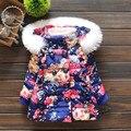 Мода новорожденных девочек зимней одежды цветочные ватные куртки Ребенка шаблон с капюшоном Парки Малыша хлопка-пальто на вате верхней одежды 7-12 Мо
