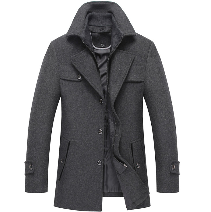 New Style Winter Wool Coat Slim Fit  Jackets Mens Casual Warm Outerwear Jacket And Coat Men Pea Coat Size M-4XL