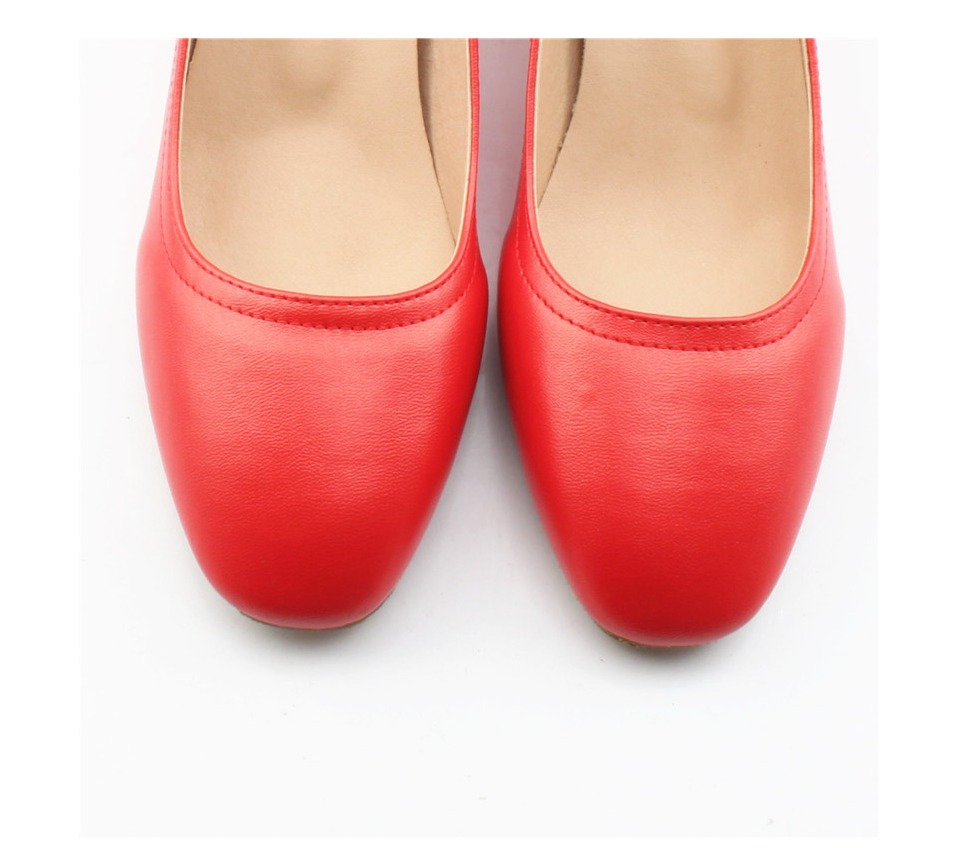 Shoes Women Genuine Leather Fashion Office and Career Rounded Toe 2-inch Block Heel Fashion Office Lady Pumps Size 34-41, K-307 35