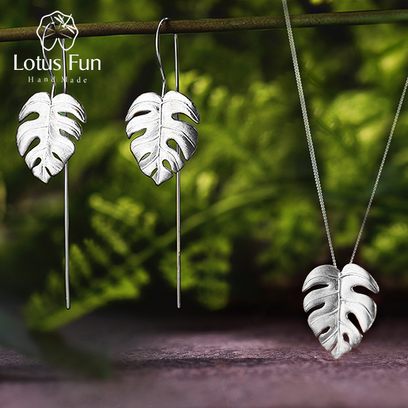 Lotus Fun Real 925 Sterling Silver Handmade Fine Jewelry Creative Monstera Leaves Design Jewelry Set for