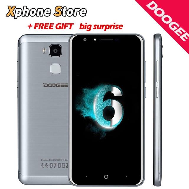Идентификации отпечатков пальцев DOOGEE Y6 C 5.5 ''Mobile Телефона 2.5D Android 6.0 MTK6737 64-бит Quad Core 2 ГБ + 16 ГБ Dual SIM Мобильный Телефон